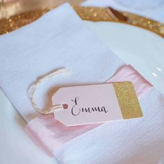 Pink and gold name cards