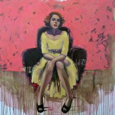 Red lips, a Oil on Canvas by Pascale Taurua from France. It portrays: People, relevant to: pink, black shoes, woman, yellow, french, red lips Oil on canvas, 100X100cm, 2013
