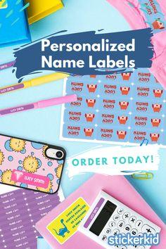 60 School Labels Waterproof School Label Vinyl Sticker Name Labels Cute Durable Label School Labels for Girls Strawberry School Labels