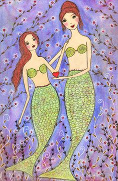 Mother and Daughter Mermaid Mixed Media Folk Art Painting by Sascalia