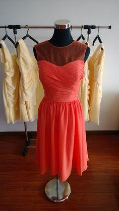 A-line Knee length Chiffon Bridesmaid Prom Evening Dress Plus size Custom made Dresses Peach bridesmaid dress
