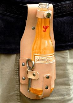 Brewski Hand made leather drink holster & by CrowmanLeather, £20.00-SR