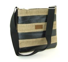 Stripe Crossbody Bag. Made with sustainable jute and recycled bike inner tube. Functional, stylish, and eco friendly!