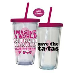 A pink straws is included with each one. The perfect gift for those of us that have been touched either ourselves or by loved ones with Breast Cancer.