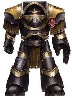 A Pre-Heresy Imperial Fists Veteran Assault Terminator of the 2nd Assault Echelon, 6th Company in Cataphractii Pattern Terminator Armour and outfitted with a Power Fist