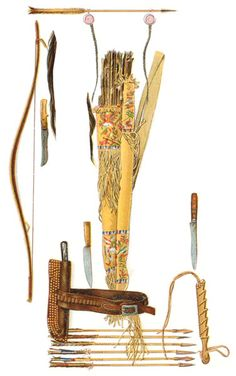 Indian weapons graphic: knives, sheaths, bow and case, quiver and arrows