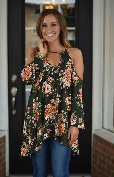 Olive Floral Cold Shoulder Top | Lane 201 Boutique