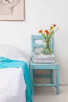white-turquoise-bedroom, old chair as end table Interior Inspiration, Design Inspiration, Bedroom Turquoise, Turquoise Chair, Turquoise Cottage, Light Turquoise, Blue Bedroom, Farmhouse Style Bedrooms, Handmade Home Decor