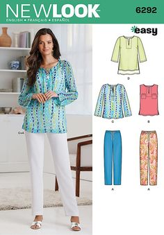 Misses Tunic or Top and Pull-on Trousers New Look Pattern No. 6292. Size 10-22.