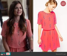 Aria's coral embellished dress on Pretty Little Liars.  Outfit Details: http://wornontv.net/45475/ #PLL