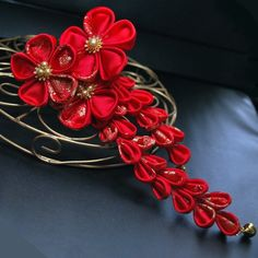 Chinese  Red Ornate Hair Pin. Red Tink. Made to order.