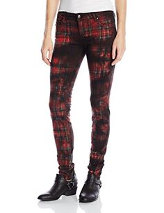 Tripp NYC Juniors Washed Skinny Stretch Rocker Jean Red Plaid 929 -- Find out more about the great product at the affiliate link Amazon.com on image.