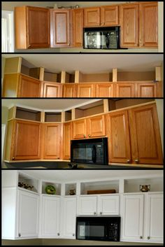 7 Excellent ideas: Cheap Kitchen Remodel Home Improvements mobile home kitchen remodel farmhouse style.Farmhouse Kitchen Remodel To Get farmhouse kitchen remodel posts.Old Kitchen Remodel Before After. Kitchen Redo, Updating Kitchen Cabinets, Kitchen Ideas, Short Kitchen Cabinets, Cupboards, Kitchen Cabinets To Ceiling, Kitchen Cabinet Paint, Upper Cabinets, Diy Storage Above Kitchen Cabinets