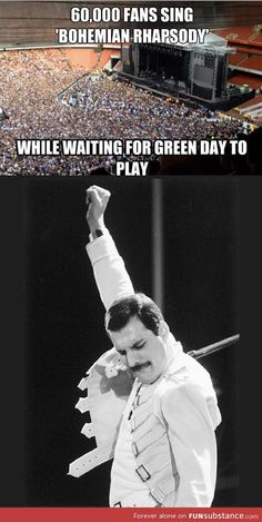 Freddie Mercury- I love Green Day (on their way to becoming legends too) as well but Queen IS GOD. Green Day, Queen Freddie Mercury, Freddie Mercury Quotes, Music Love, Music Is Life, Bryan May, Freedy Mercury, Beatles, Rainha Do Rock