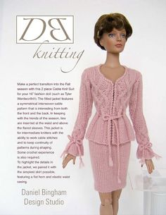 """Knitting pattern for 16"""" doll (Tyler Wentworth): Cable Knit Suit"""