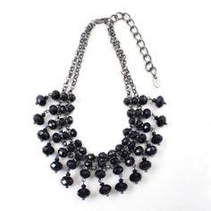 Summer Black Crystal Tassels Sexy Short Bib Necklace