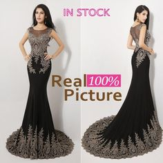 Discount Sexy Mermaid Prom Party Dresses with Gold Appliques 2015 IN STOCK Red Black Beaded Formal Evening Gowns Pageant Dresses for Women 2014 Online with $188.49/Piece | DHgate