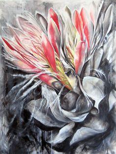 #Protea #ProteaEximia #WesternCape #CapeTown 'Impassioned' Oil on canvas 1.2m x 90cm painted by Ellie Eburne