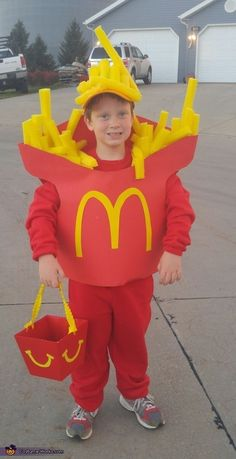 Timothy My 5 year old sons favorite food is McDonalds fries. I used 2 sheets of red posterboard 1 yellow posterboard 1 yellow ball cap ...  sc 1 st  Pinterest & Macaroni and Cheese Costume...these are the BEST Kids Costumes ...