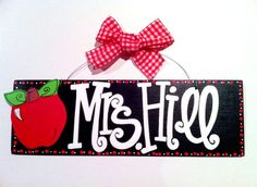 4x12 Personalized Hand Painted Teacher Name Sign with Polka Dot BORDER and Apple Embellishment. Classroom Door Sign, Teacher Gift. $28.00, via Etsy.
