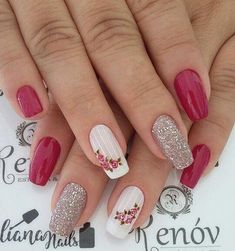 Best Nail Art Designs 2018 Every Girls Will Love These trendy Nails ideas would gain you amazing compliments. Check out our gallery for more ideas these are trendy this year. Best Nail Art Designs, Acrylic Nail Designs, Acrylic Nails, Rose Nails, Flower Nails, Stylish Nails, Trendy Nails, Bright Pink Nails, Bright Yellow