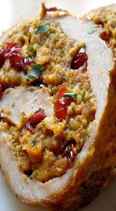cranberry and walnut stuffed pork loin