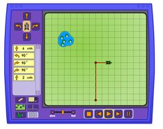 Turtle Pond  Guide a turtle to a pond using computer commands, number of steps, and degrees of movement.