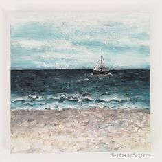 Another painting with a fav theme of mine these weeks. It's on a 20x20 cm canvas and I'm still practicing sea, sand and clouds. Fun! #painting #drawing #acrylic paint #sea #beachandsea #mixedmedia http://scrapmanufaktur.blogspot.com