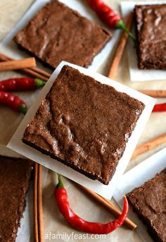 Mexican Brownies - A dense, fudgy brownie recipe with cinnamon and cayenne added for a little spiciness and heat. The flavor in these brownies is fantastic!
