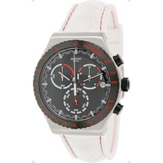 Swatch Men's Irony YVS407 White Rubber Swiss Quartz Watch