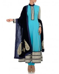 Baby Blue Anarkali Suit with Gota Patti