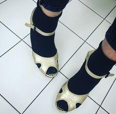 Golden sandals & black ankle socks