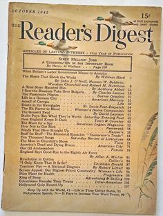 """OCTOBER 1945 """"Reader's Digest"""" -GERMANY - ATOMIC BOMBS - NEW ENGLAND - CHURCHILL"""