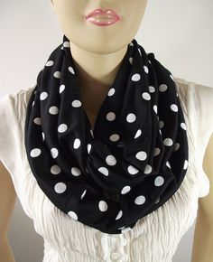 Black and White Polka Dot Infinity Scarf by liliavaniniboutique, $28.50