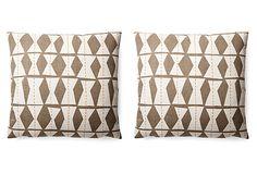 S/2 Coco 20x20 Cotton Pillows, Brown on OneKingsLane.com