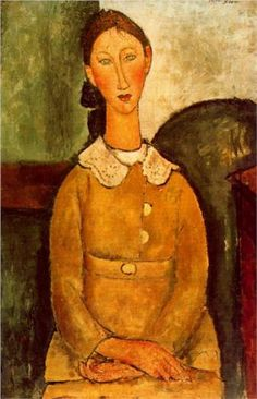 A girl in yellow dress by Amedeo Modigliani, 1917. Portrait. Expressionism.