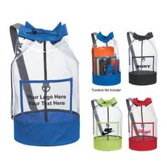 "Custom Clear Barrel Sling Bags: Available Colors: Clear with Royal Blue, Black, Red, Lime Green Trim. Product Size: 20"" H x 11"". Imprint Area: 6"" W x 3"" H. Carton Weight: 24 lbs. Packaging: 40. Material: 600D Polyester. #ClearBarrel #promotionalproduct #slingbag"