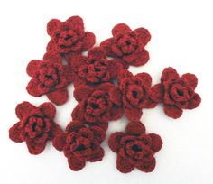 FLOWERS 10 cotton crochet red 3 layered appliques
