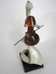 Bronze Sculptures of females by artist Panufnik Biela titled: 'Petite Violoncelliste (Little Contemporary Modern Player statue statue)'