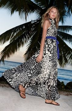Eliza J Print Chiffon Halter Maxi Dress @nordstrom
