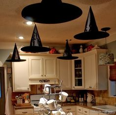 floating witchs hats for halloween party great kitchen halloween decor too