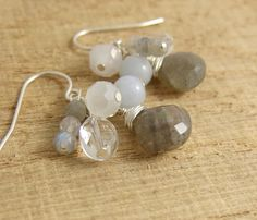 Earrings with Clusters of Labradorite, Crystal and Angelite Beads BE-212 by jewelrybyroz on Etsy