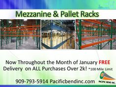 We have a unique design pallet racking that could withstand any amount of pressure that your freight may put on the racks. We fabricate the majority of our own materials so we can manufacture ANY size you require. We even offer a FREE quote. Try our product out today you won't be disappointed! Call NOW! We deliver! We install! 909-793-5914
