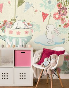 Summertime Vintage Mural Safety/&Eco Textured Vinyl Wallpaper on non-woven base Removable Blue Flowers Washable Bloom Wallpaper