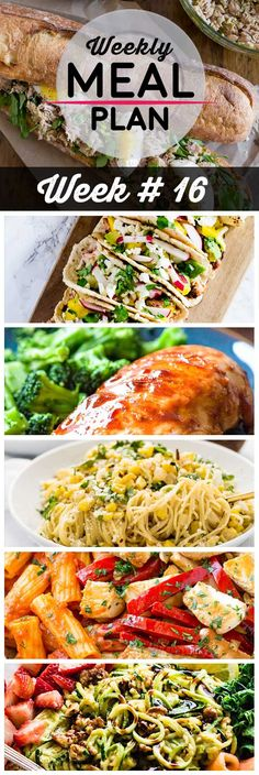 Weekly Meal Plan #16! A meal plan to help you keep things tasty each week, including pesto tuna baguette sandwiches, salmon tacos with avocado salsa, one pan BBQ chicken, and more! | HomemadeHooplah.com