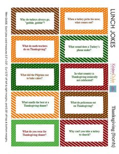 Get ready to add some smiles into your kids' packed school lunches - print and use these Thanksgiving lunchbox jokes this fall! KristenDuke.com