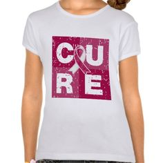 CURE Throat Cancer Distressed Cube Tee Shirts by GiftsForAwareness.com