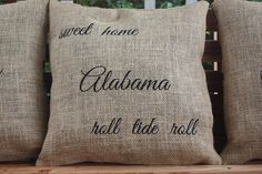 Embroidered Monogram Burlap Pillow  Alabama by TwizzleStitches