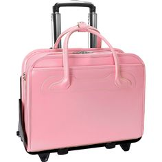Shop for McKlein Willowbrook Pink Detachable-Wheeled Rolling Laptop Briefcase. Get free delivery On EVERYTHING* Overstock - Your Online Luggage Store! Best Laptop Backpack, Laptop Briefcase, Leather Laptop Bag, Rolling Briefcase, Leather Luggage, Pink Luggage, Luggage Sets, Laptop Stand, Laptop Case