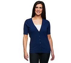 Denim & Co. Essentials Short Sleeve V-neck Cardigan